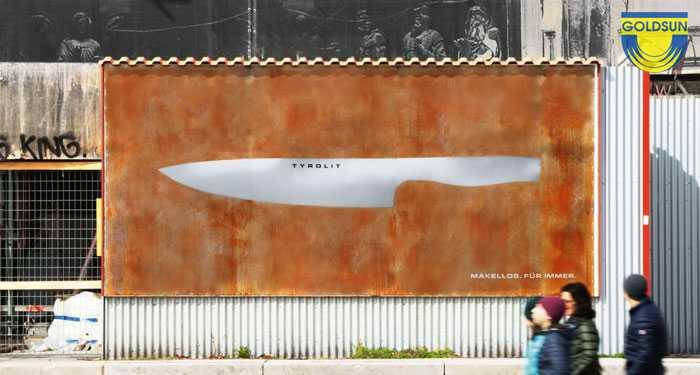 Biển quảng cáo dòng dao Iceline của Tyrolit