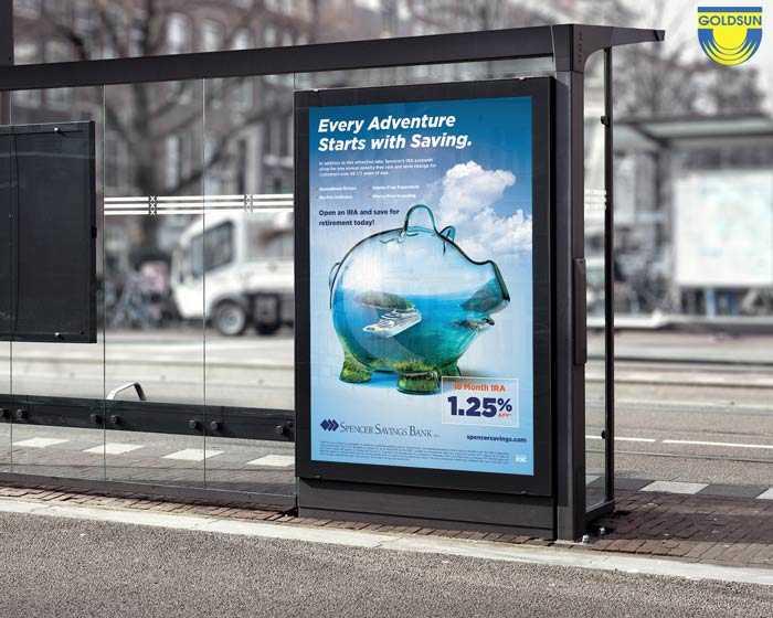 Biển quảng cáo được đặt ở vị trí bến xe bus