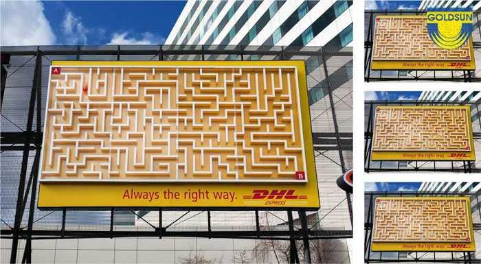 Biển quảng cáo của hãng giao hàng nhanh DHL.