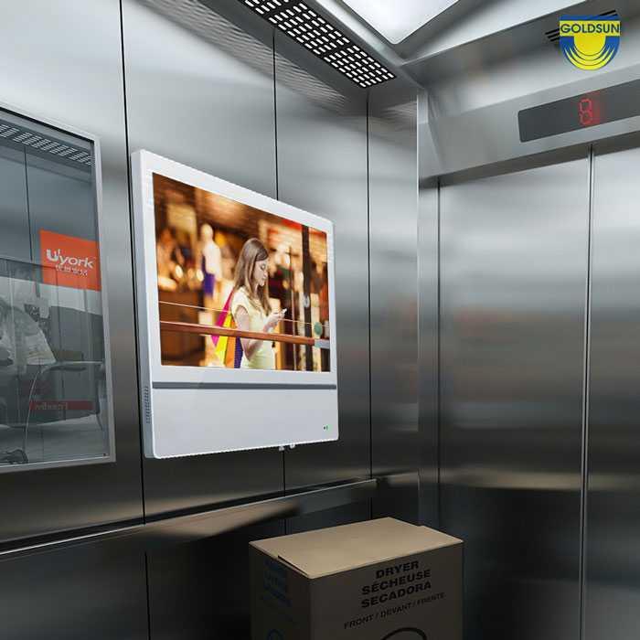 Màn hình quảng cáo trong thang máy có hình ảnh thu hút