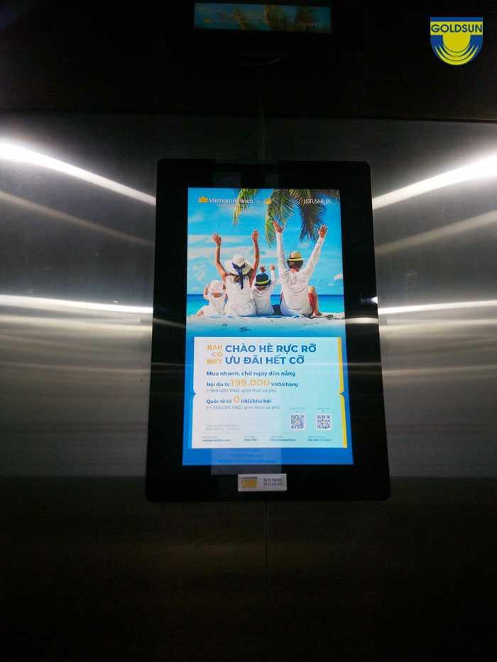 Hình ảnh màn hình quảng cáo trong thang máy