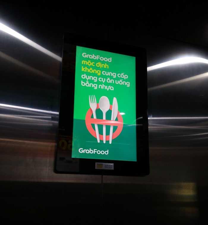 Quảng cáo trong thang máy Grapfoood