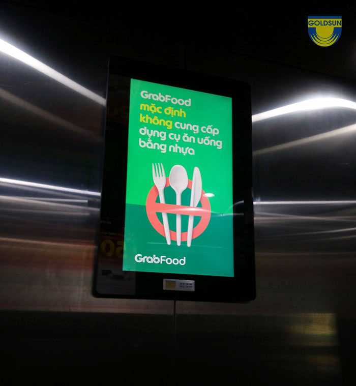 Quảng cáo trong thang máy grabfood