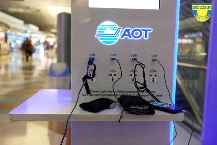 The logo of the brand is on the charging booth