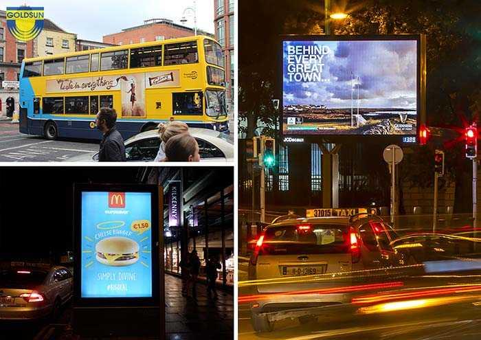 Quảng cáo có cách thể hiện rất đa dạng như biển hộp đèn, dán decal xe bus