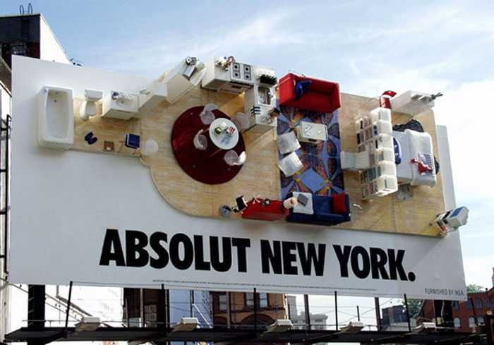 Absolut's long-running ad campaign transformed an ordinary billboard into a stylish NYC apartment back in 2000