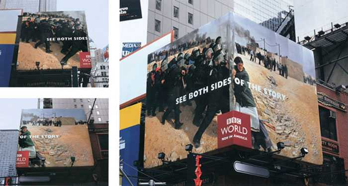 Clever use of corner billboards in this campaign for BBC World by BBDO New York