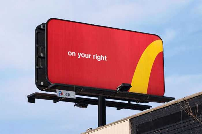 This billboard from McDonalds 'slashes' the price difference of their Big Mac