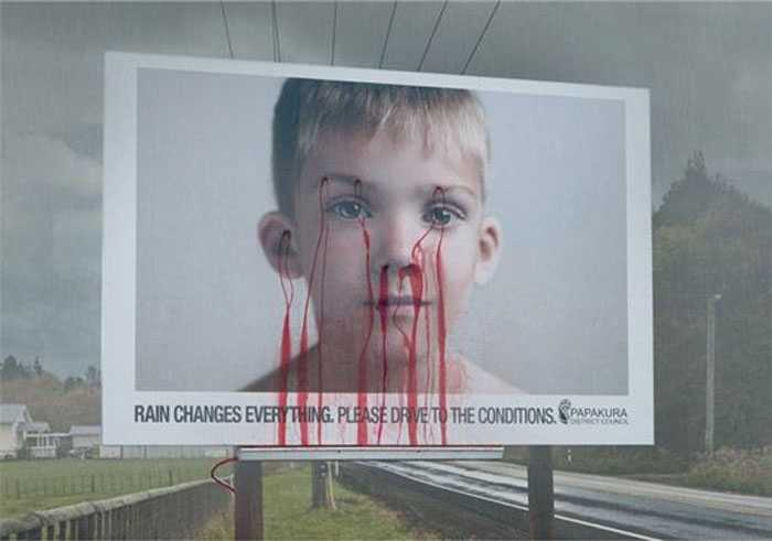 In an attempt to reduce fatal accidents on the roads in New Zealand, ColensoBBDO created this billboard design that bleeds when it rains