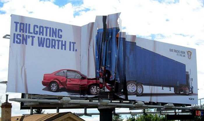 Keep your eyes on the road, not this brilliant billboard by Amelie Company