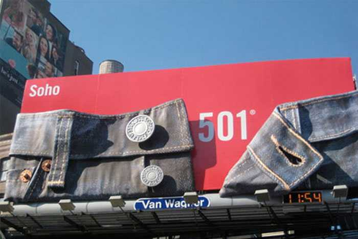Levis lets its product do the talking in this billboard design