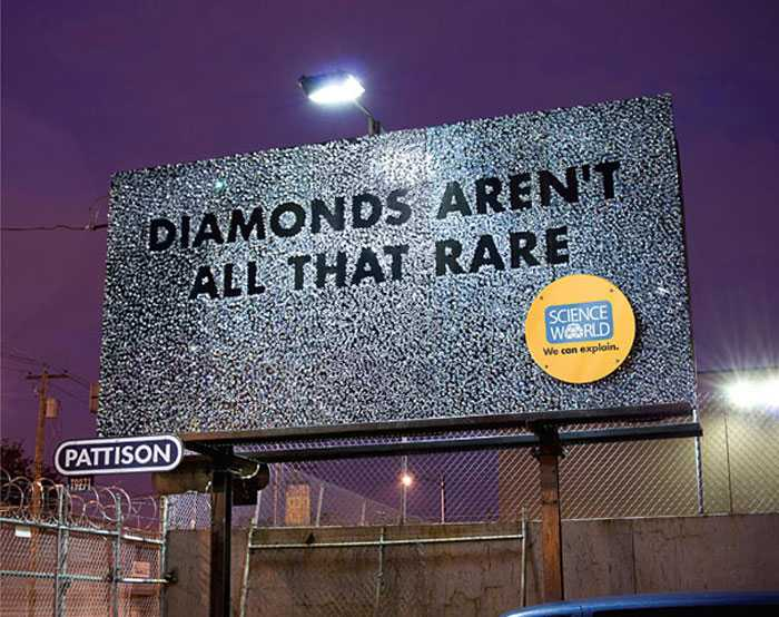 We wonder how long it took the Rethink team to glue 9,000 diamonds to this billboard?