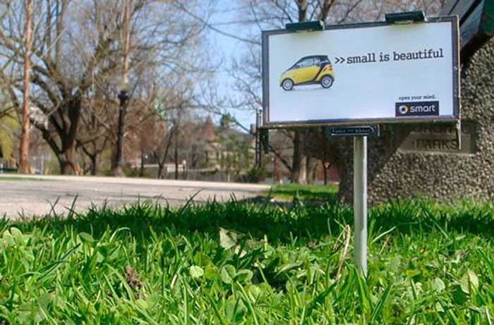 BBDO Toronto promoted Smart car's low impact on the environment with these itty-bitty billboards