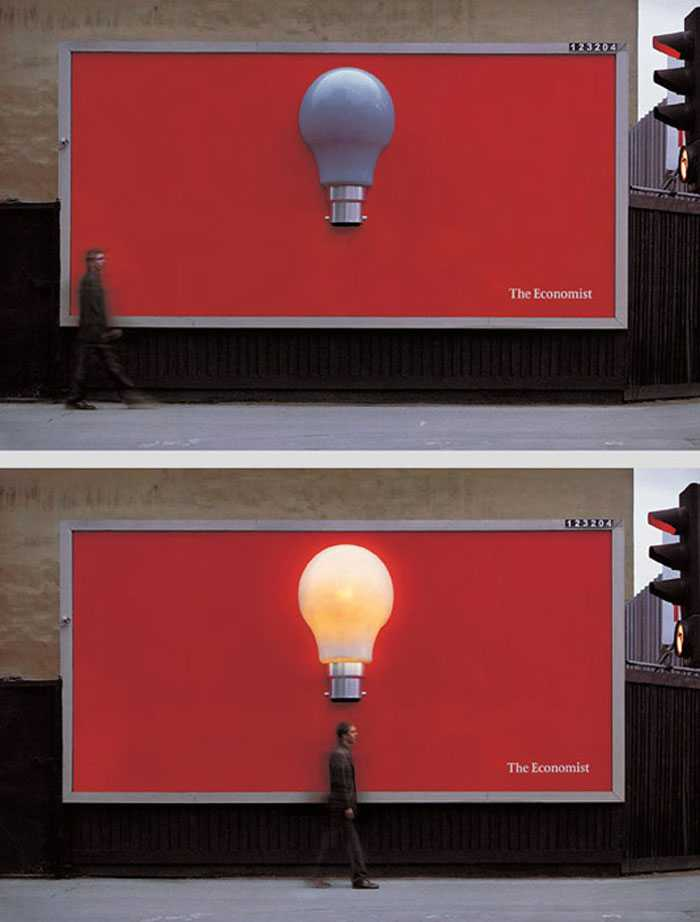 UK-based creative agency Abbott Mead Vickers BBDO was the brains behind this ingenious light bulb billboard design