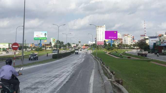 Quảng cáo VT2 ngã 4 Big C Nam Định, km107+370 QL10, bên tay trái hướng Thái Bình đi Nam Định