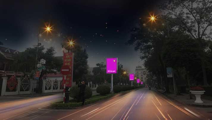 Quảng cáo màn hình LED dải phân cách đường Nguyễn Du - thành phố Nam Định