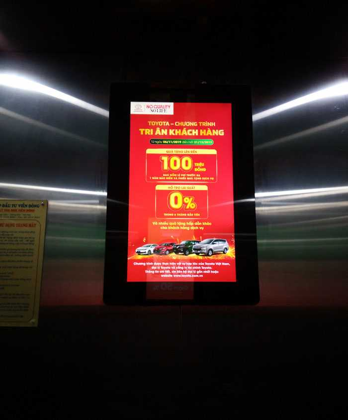 Màn hình quảng cáo trong thang máy Hồ Chí Minh của Goldsun Group